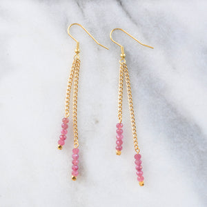 Libby & Smee Gemstone Gold chain Earrings available with Pink Tourmaline  beads