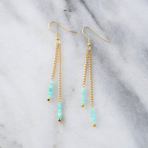 Libby & Smee Gemstone Gold chain Earrings available with Amazonite beads