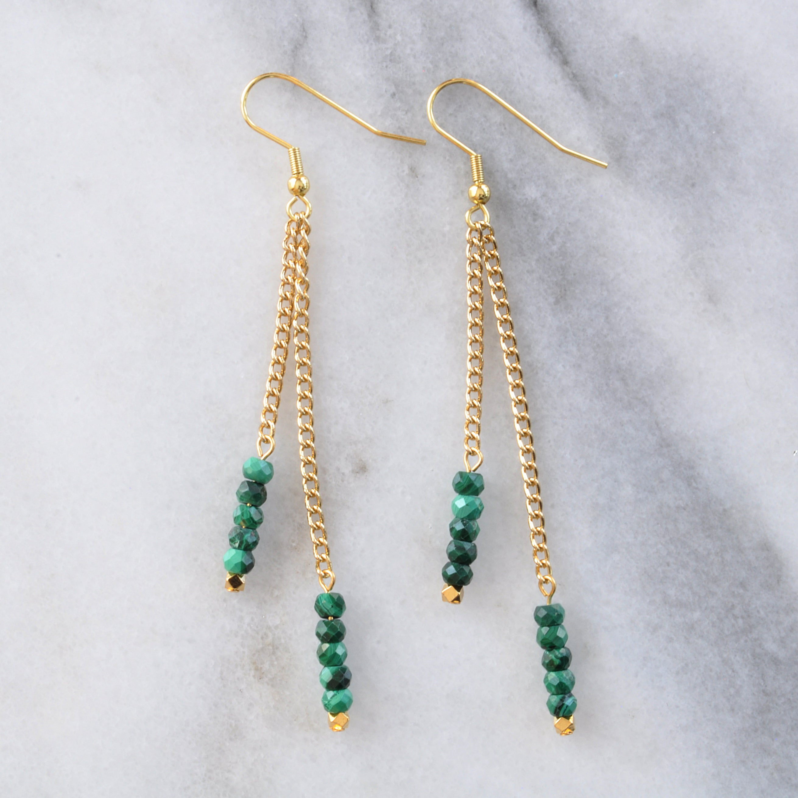 Libby & Smee Gemstone Gold chain Earrings available with Malachite beads