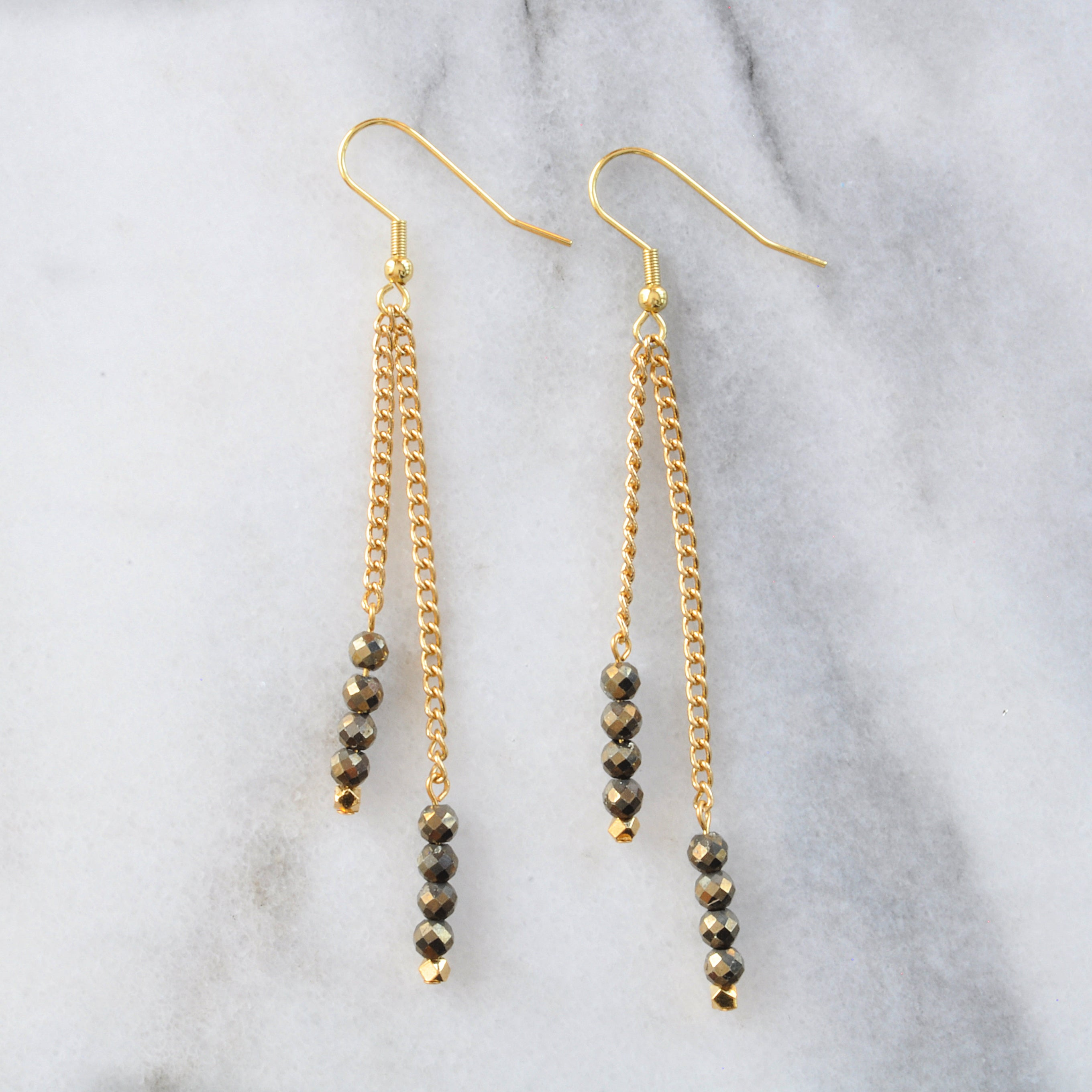 Libby & Smee Gemstone Gold chain Earrings available with Pyrite beads