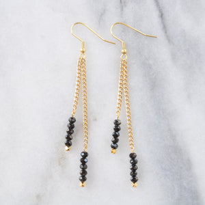Libby & Smee Gemstone Gold chain Earrings available with Black Spinel beads