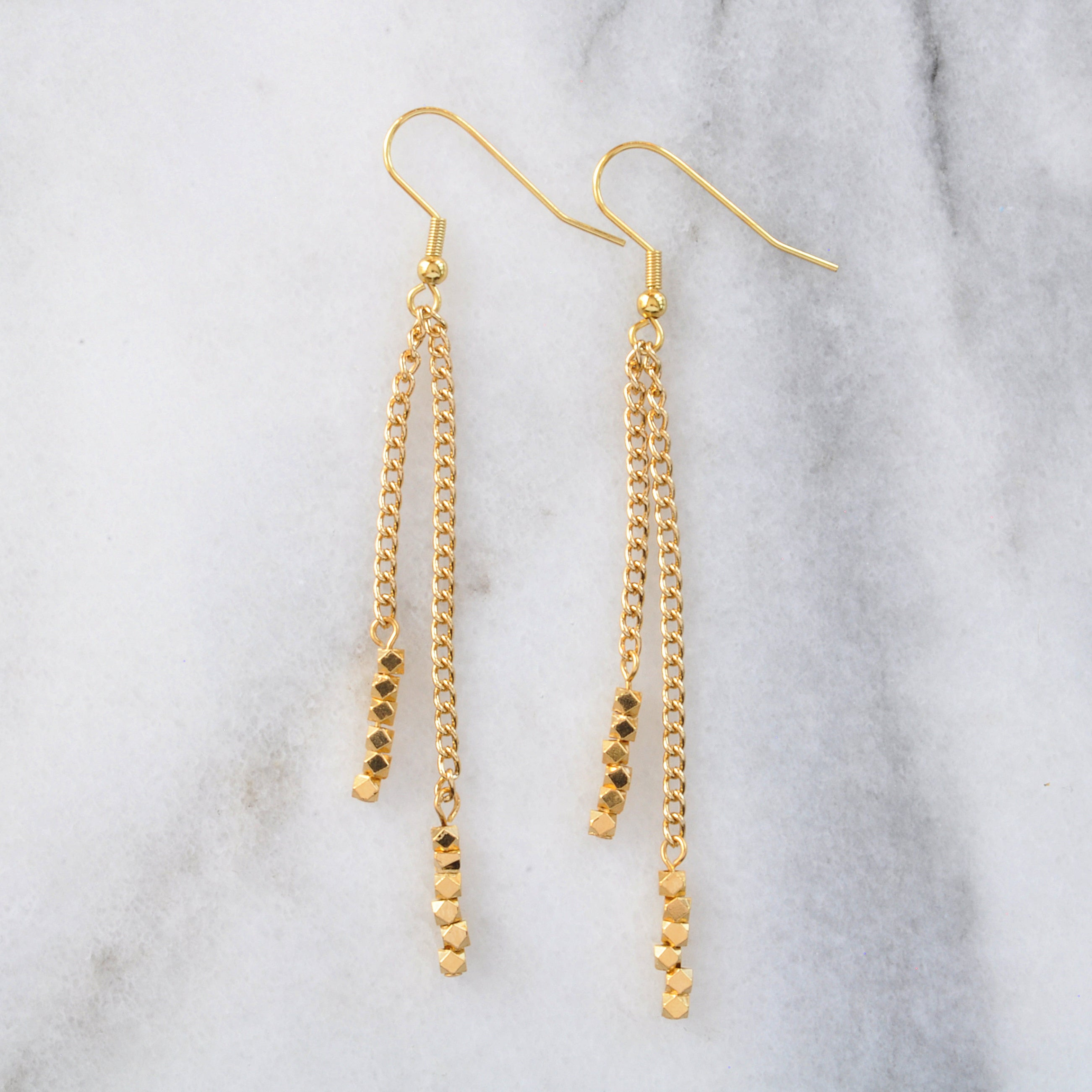 Libby & Smee Gemstone Gold chain Earrings available with gold beads