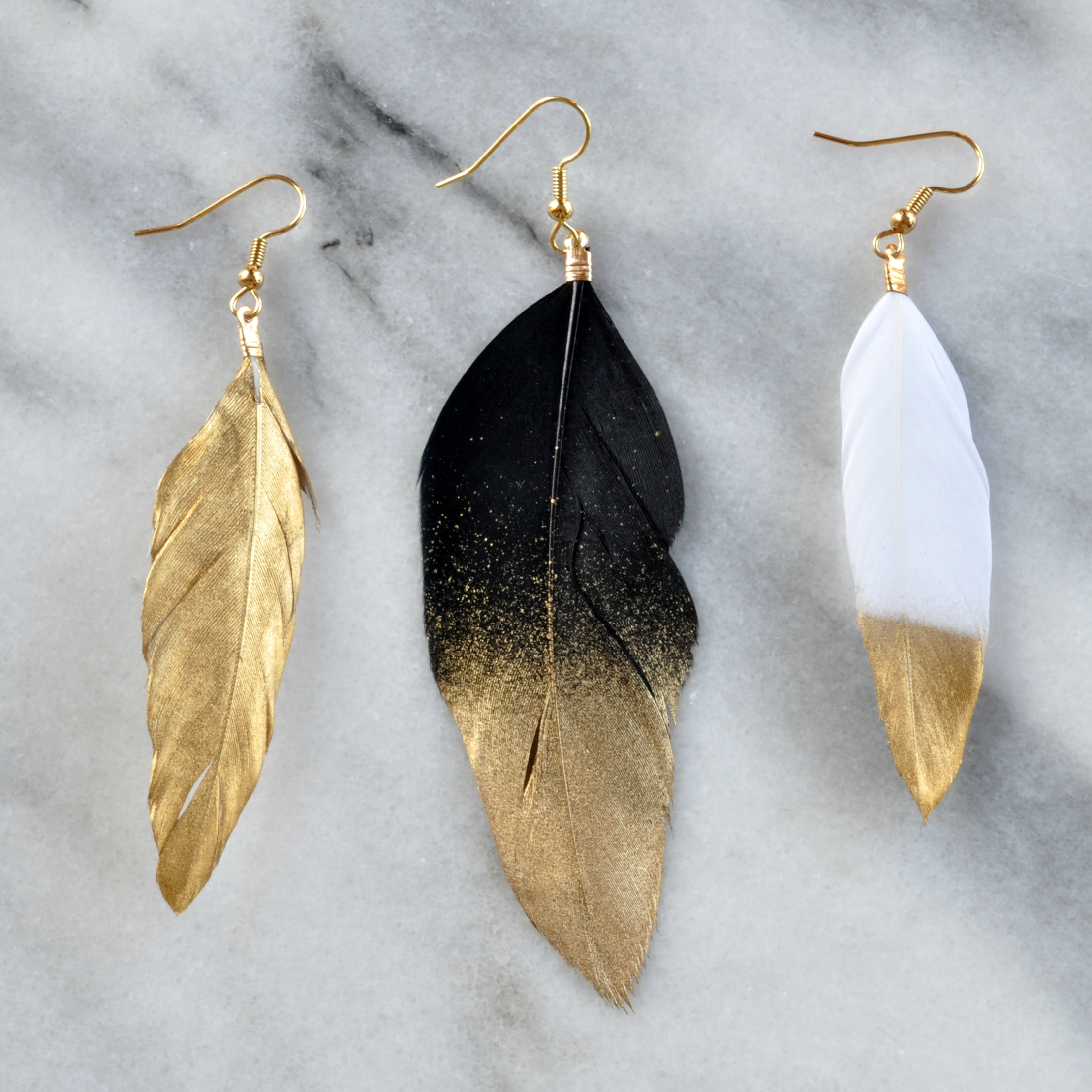 "White and Gold 4"" Feather Earrings"