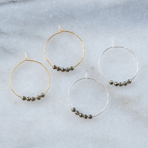 Gemstone 25mm Hoop Earrings - PYRITE