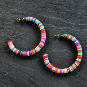 Libby & Smee rainbow heishi bead 2 inch hoop earrings