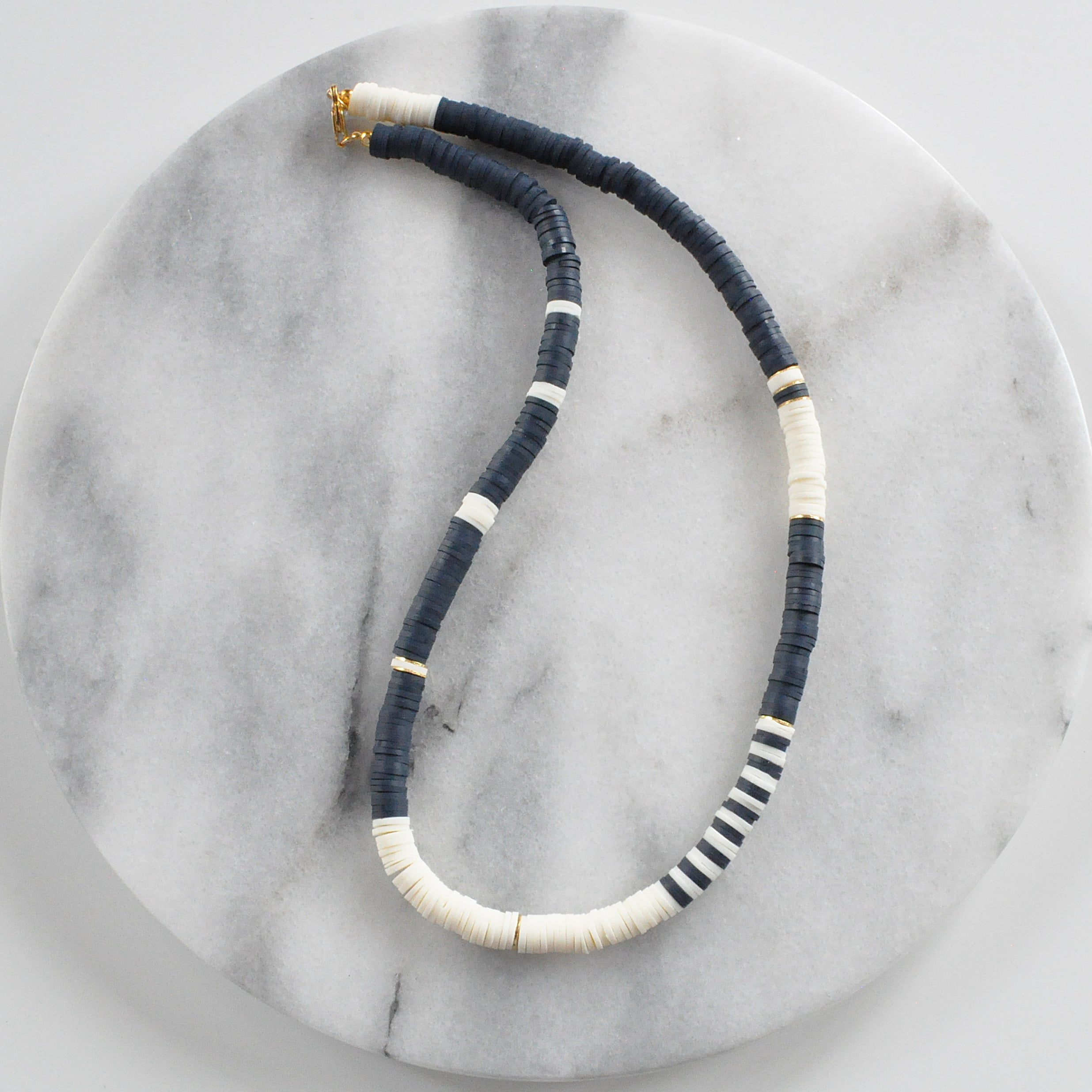 Heishi Bead Necklace - MIDNIGHT/ IVORY