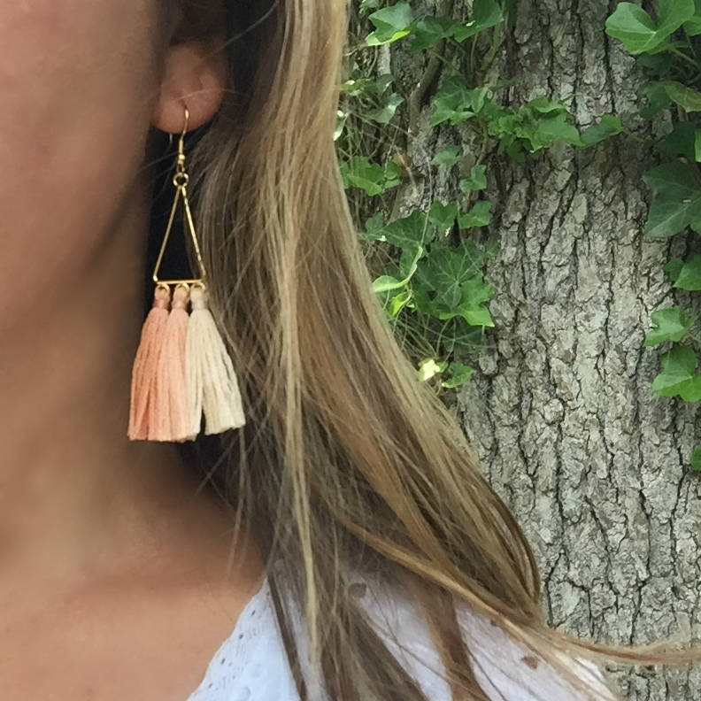 Libby & Smee Ombre Triangle Blush tassel Earrings, on model close up
