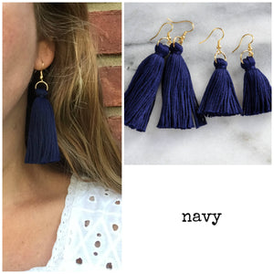 Libby & Smee Navy Tassel Earrings in Mini and Long, Still life and Long on Model