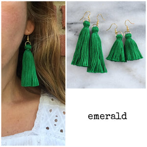 Emerald Green tassel earrings from Libby & Smee shown in mini and long sizes and on a model in the long size