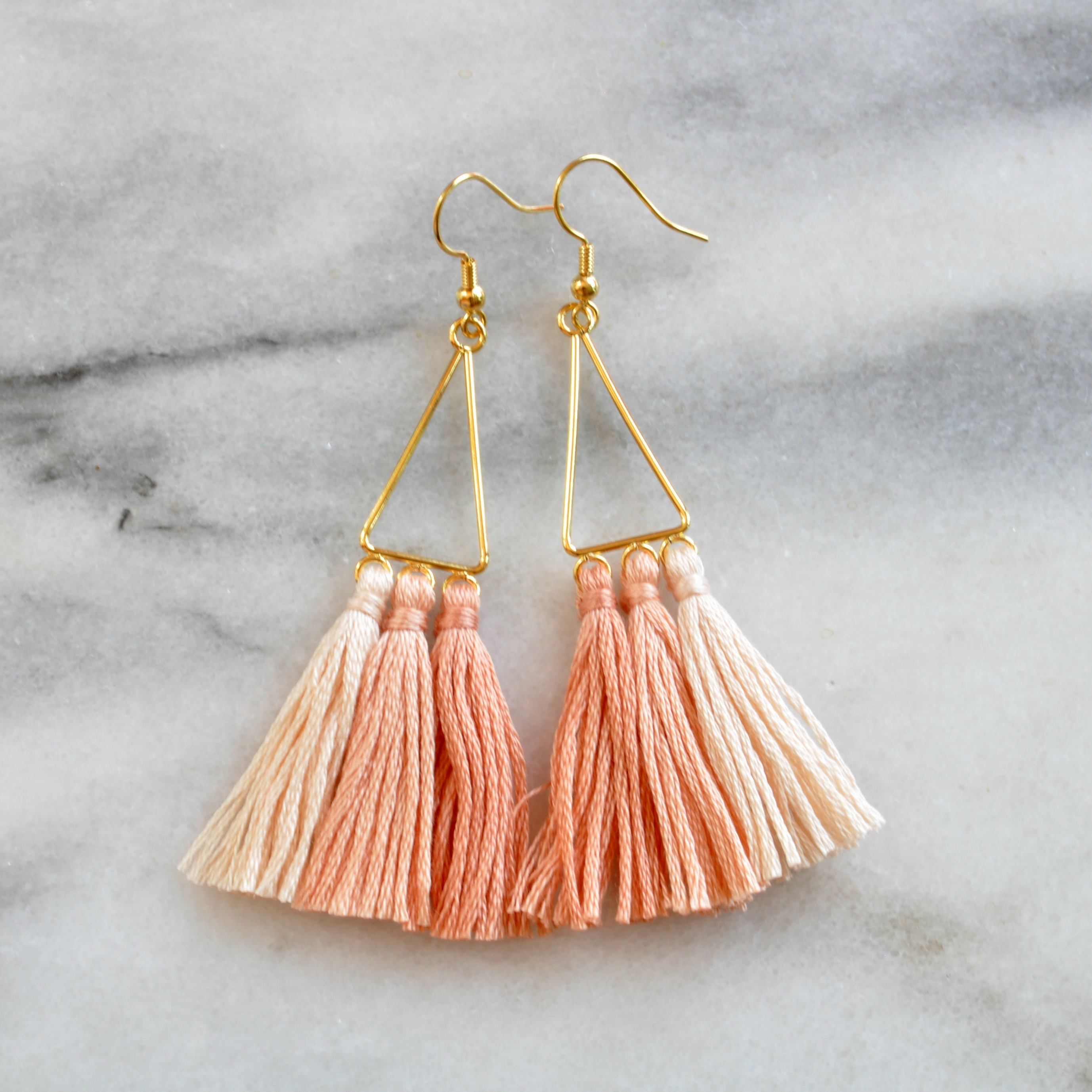 Libby & Smee Ombre Triangle Blush tassel Earrings, still life
