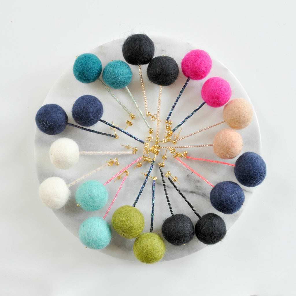 Libby & Smee pom pom earrings in 10 color combinations