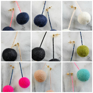 Libby & Smee pom pom earrings in 9 color combinations, close ups