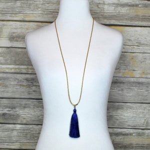Libby & Smee Navy Blue Tassel Necklace, on Mannequin
