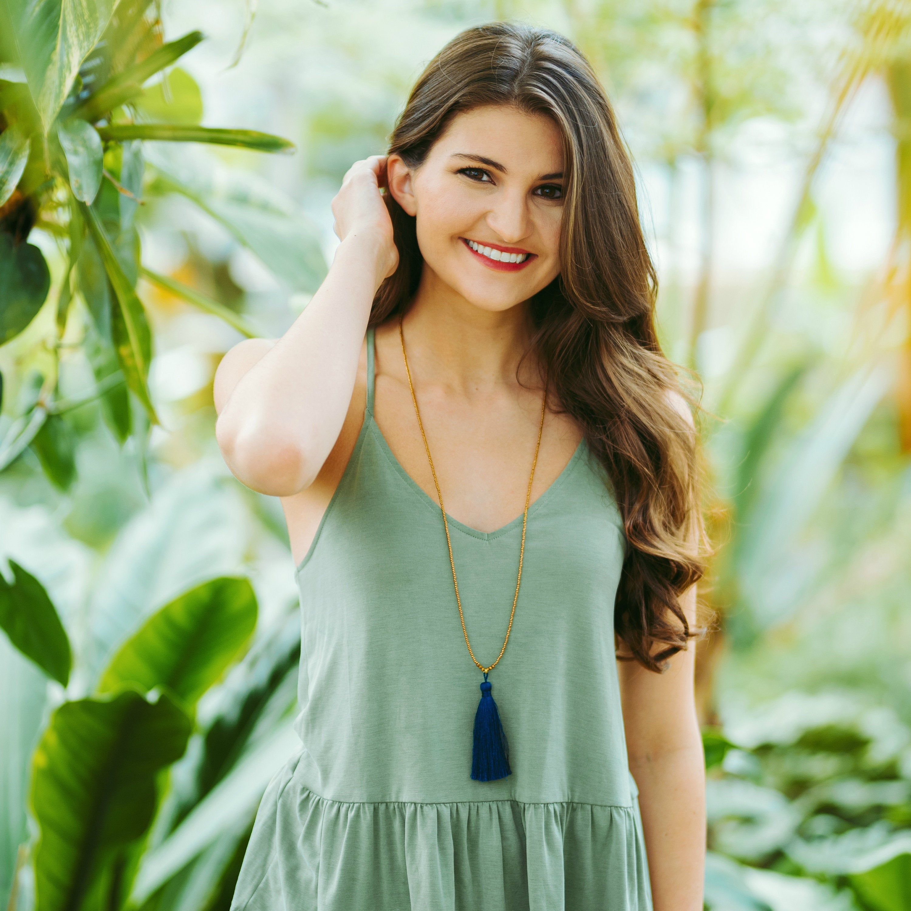 Libby & Smee Navy Blue Tassel Necklace, On Model Smiling at Camera