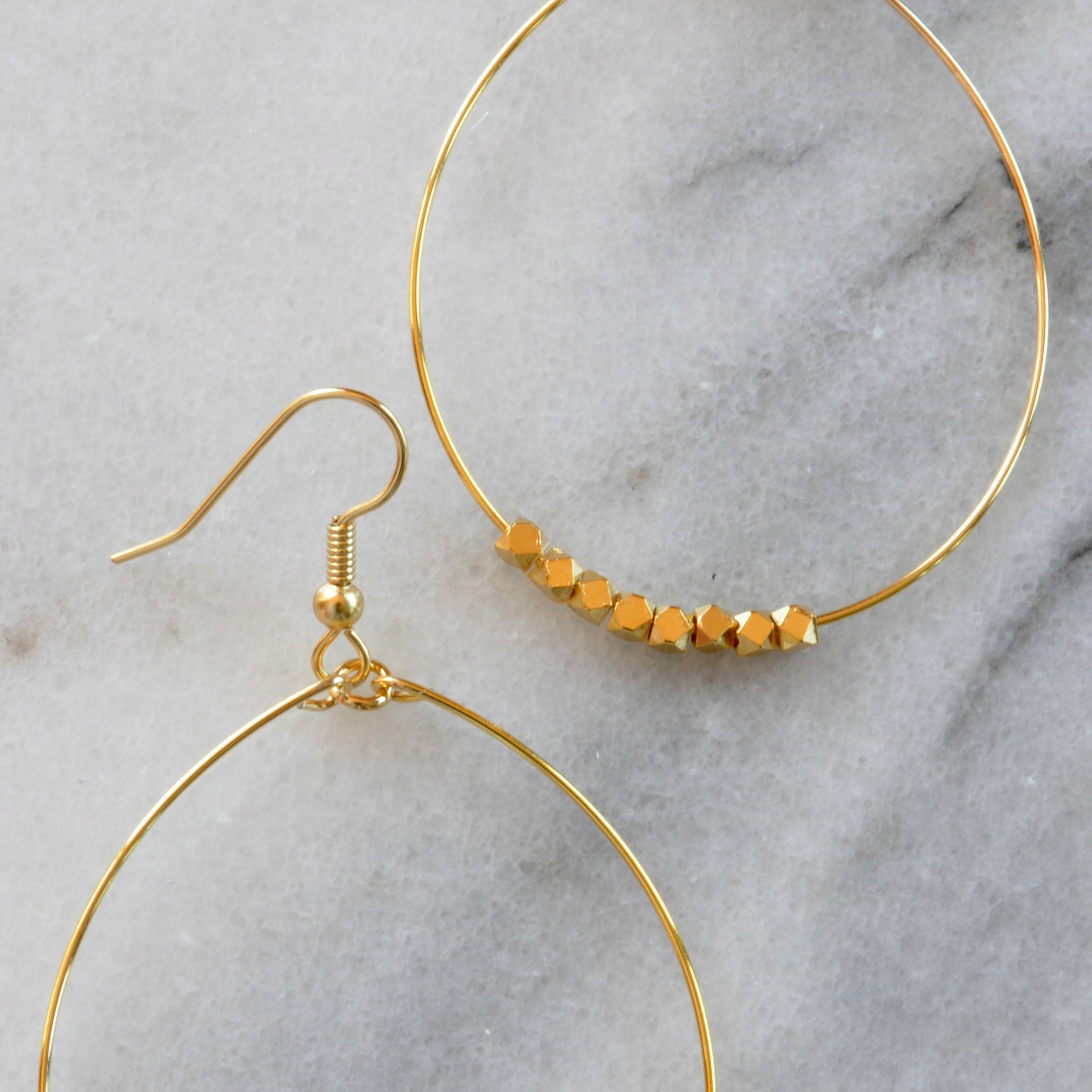 Libby & Smee Gold Beaded Hoop Earrings close up