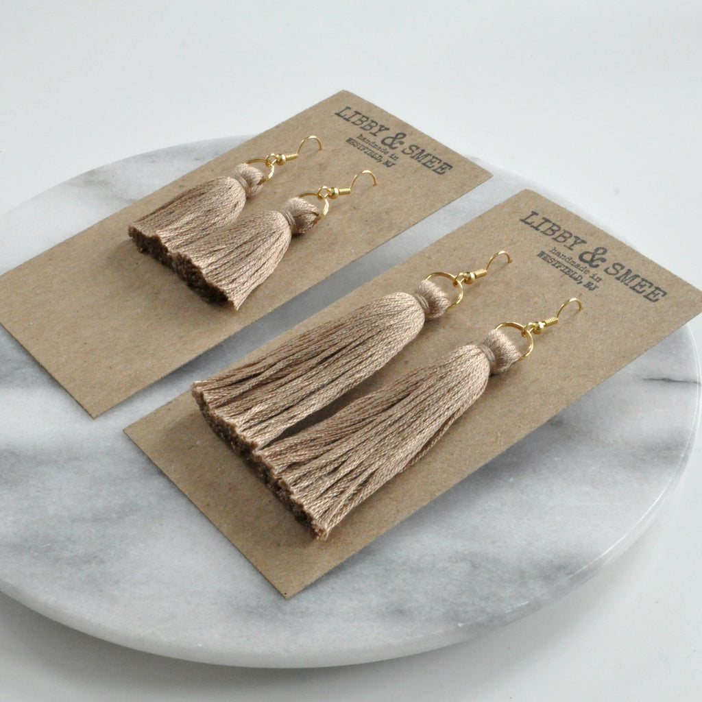 Libby & Smee Hazelnut Beige Tassel Earrings in Mini or Long with Gold Earwire on Logo Kraft Earring Cards