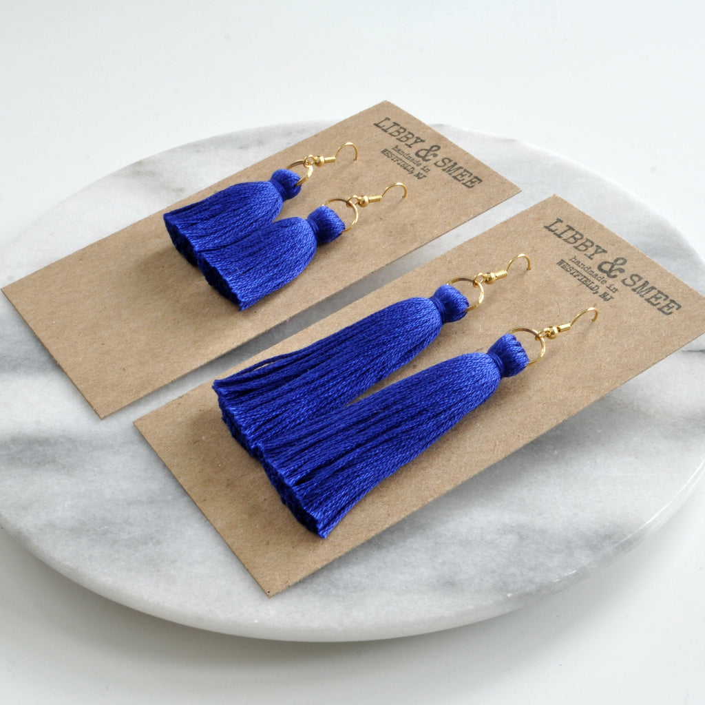 Libby & Smee Cobalt Blue Tassel Earrings in Mini and Long on kraft earring cards - side angle