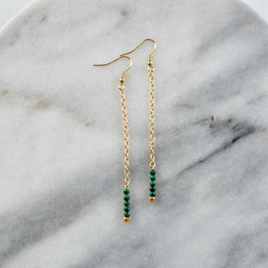 Libby & Smee Gemstone Earrings with Malachite Beads, Still life