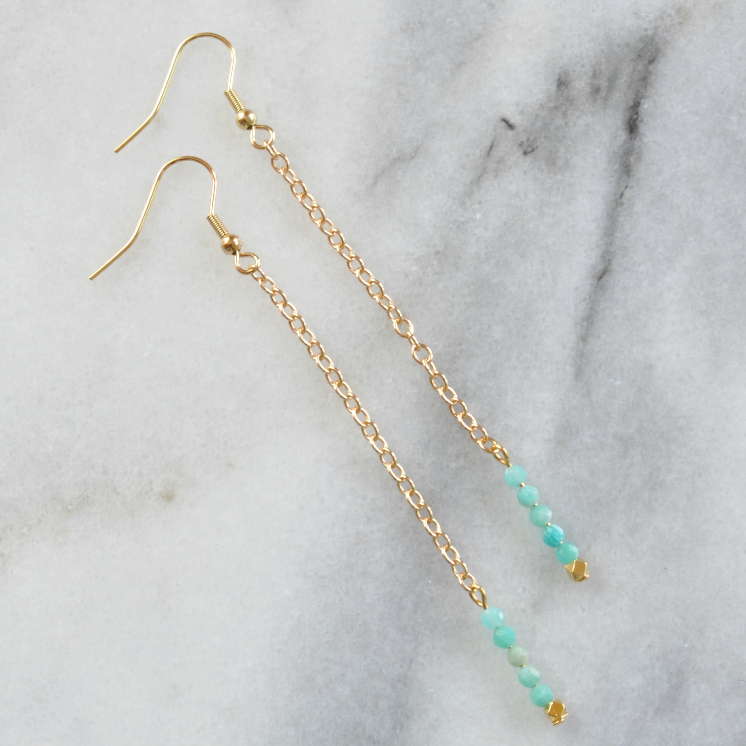 Libby & Smee Gemstone Earrings with Amazonite Beads, still life