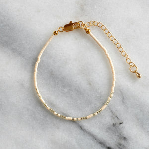 Libby & Smee Beaded Morse Code Squad Girls trip Bracelet in Cream with Metallic, Still Life