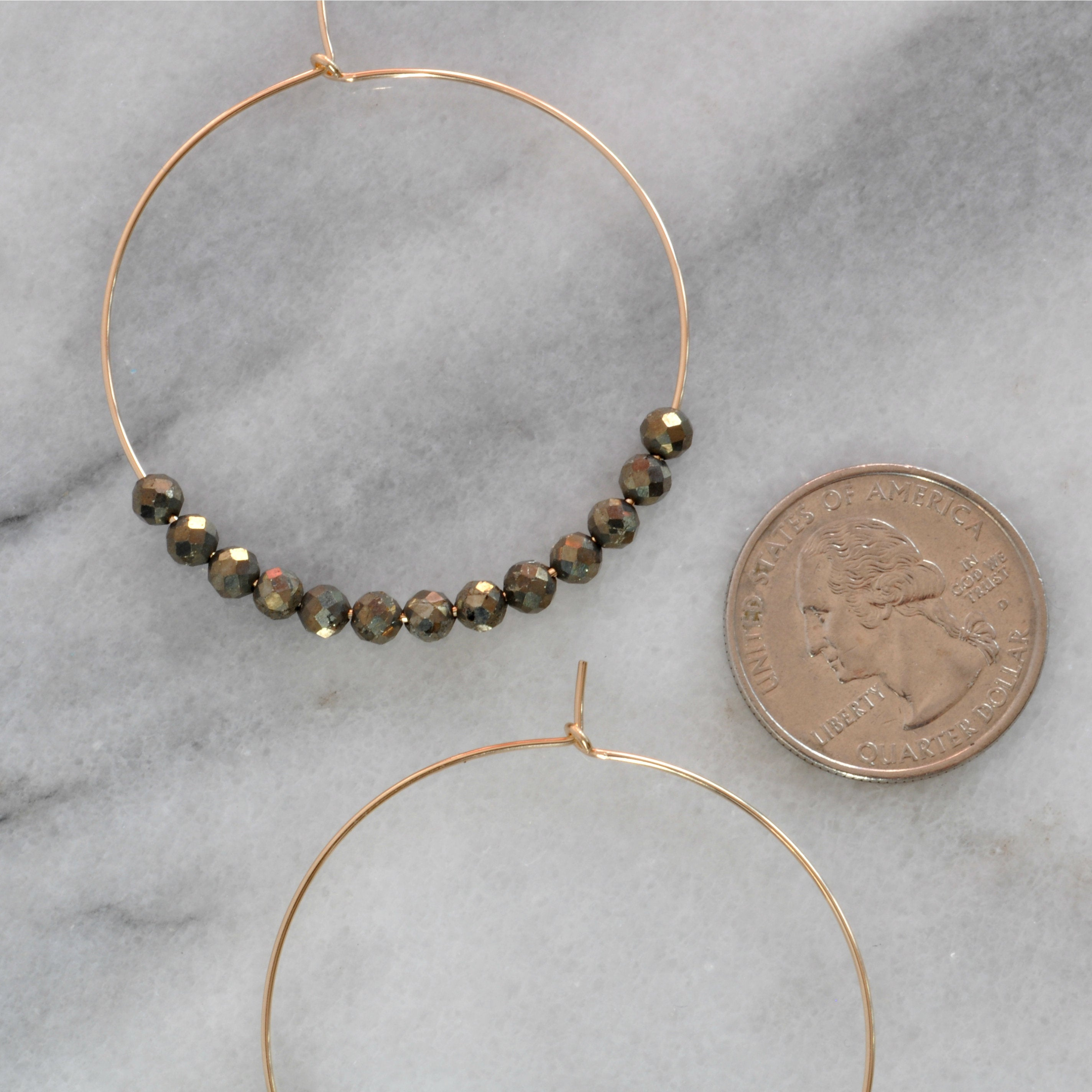 Libby & Smee Gemstone Hoop Earrings in Pyrite, close Up
