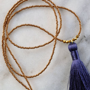 Libby & Smee Navy Blue Tassel Necklace, Close Up