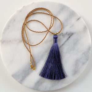 Libby & Smee Navy Blue Tassel Necklace, Still Life