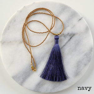 Libby & Smee Beaded Tassel Necklace in Navy , still life labeled