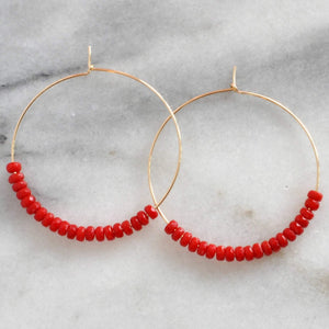 Libby & Smee Gemstone Hoop Earrings in Coral