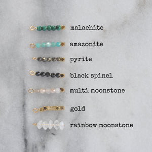 Libby & Smee Gemstone Earrings, options for Gemstones lableled: malachite, amazonite, pyrite, moonstone and gold beads