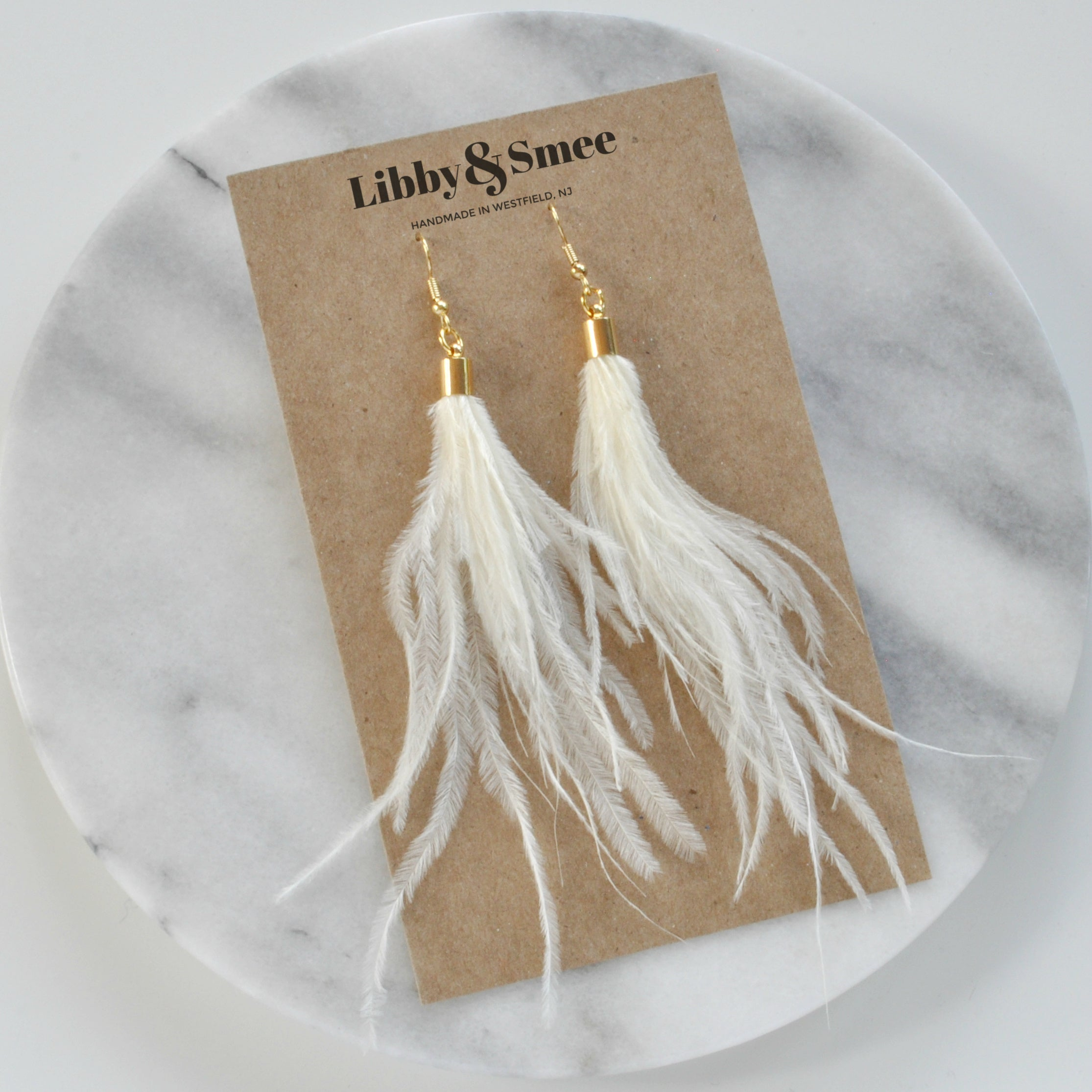 Ivory Ostrich Feather Earrings