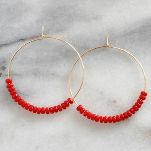 Gemstone 45mm Gold Filled Hoops - CORAL