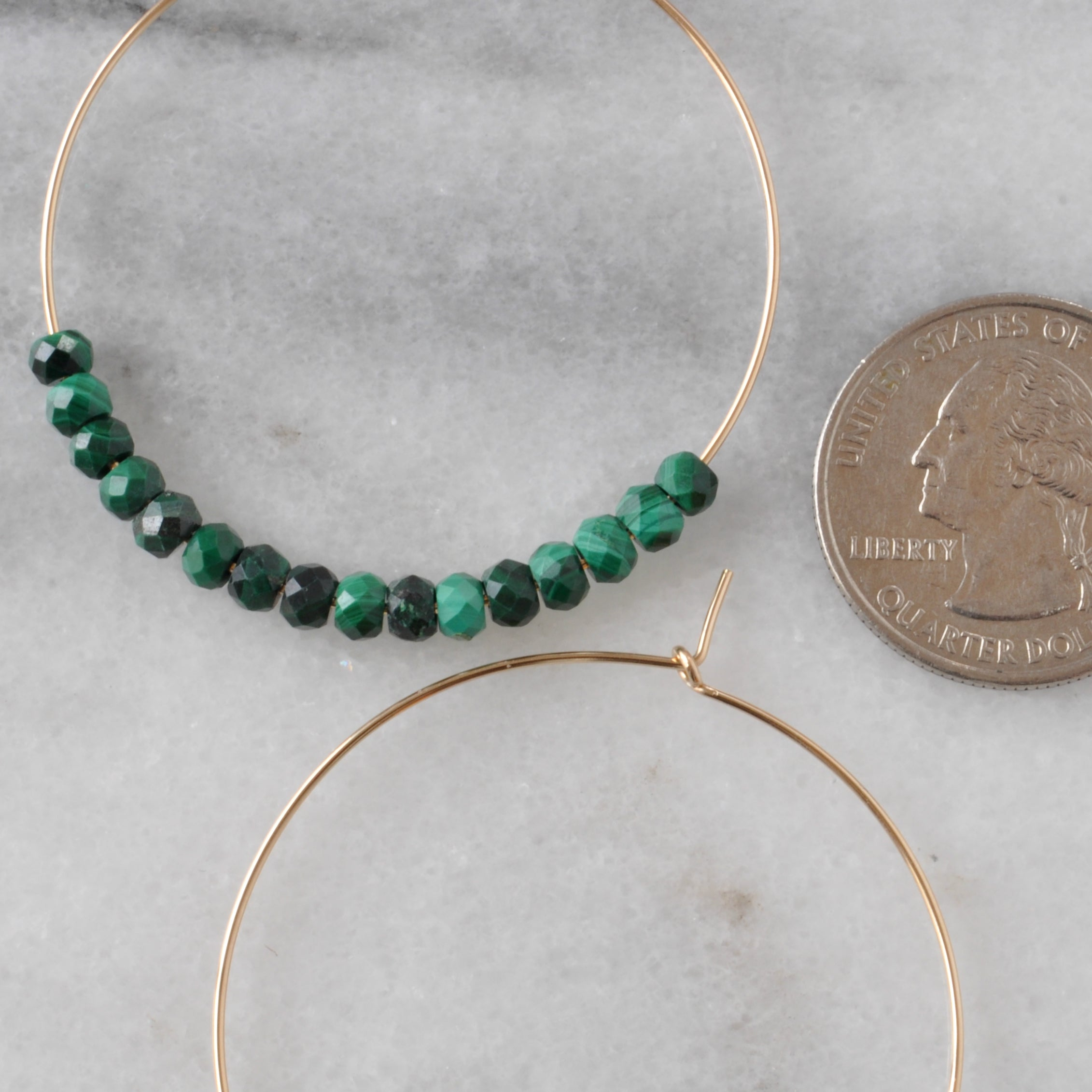 Gemstone 45mm Gold Filled Hoops - MALACHITE