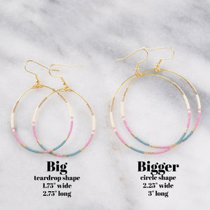 Big Beaded Hoops - MAUVE