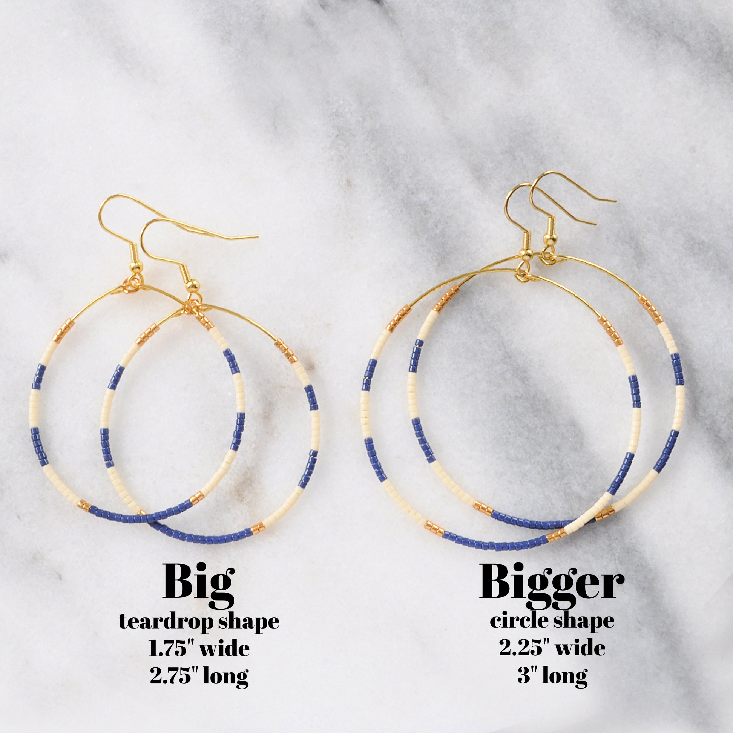 Big Beaded Hoops - NAUTICAL