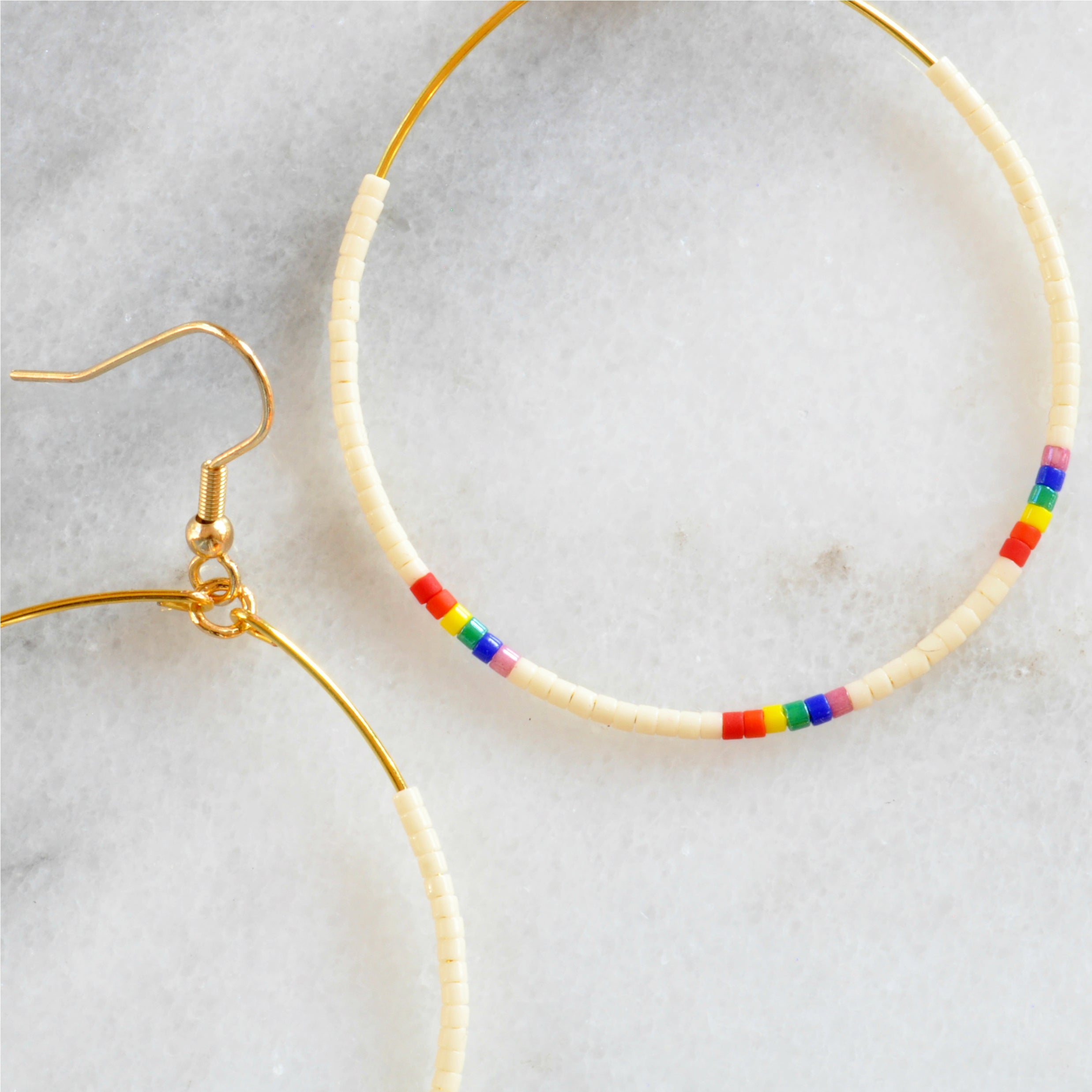 Big Beaded Hoop Earrings