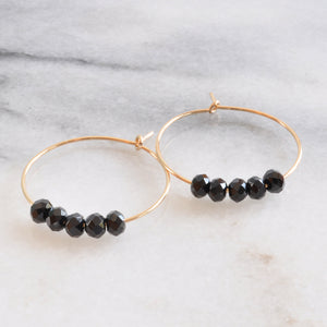 Libby & Smee Gold Filled 25mm Black Spinel Hoop Earrings