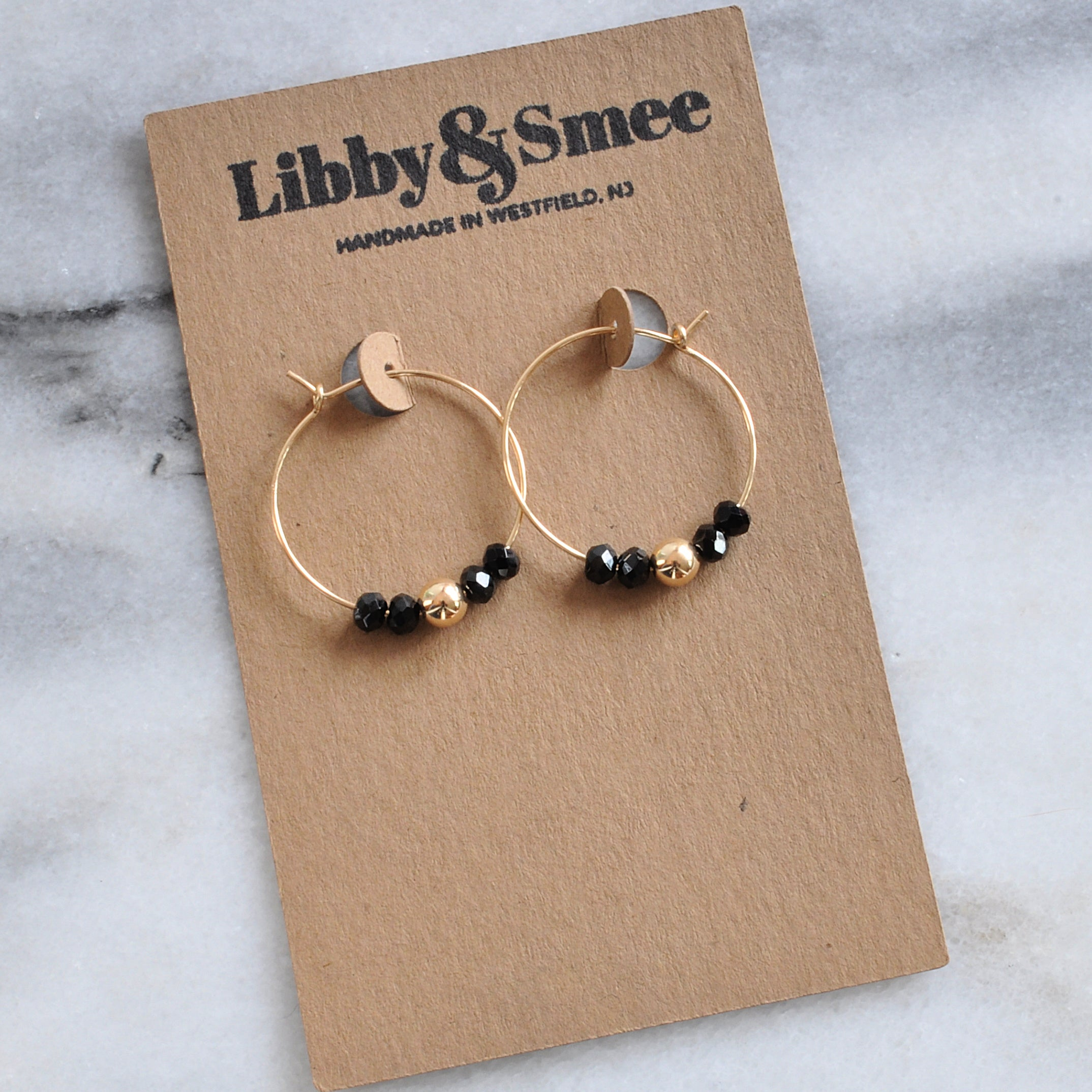 Libby & Smee Gold Filled 25mm Black Spinel Gemstone Hoop Earrings