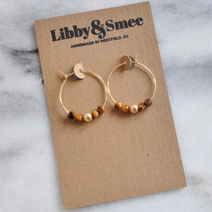 Libby & Smee Gold Filled 25mm Tiger Eye Hoop Earrings