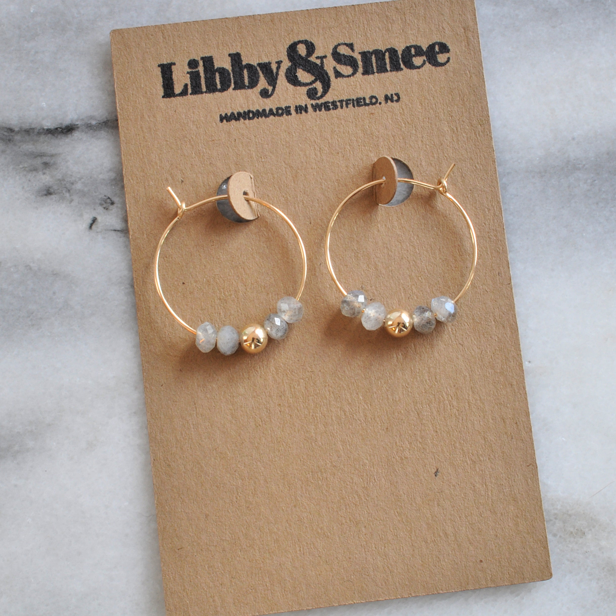 Libby & Smee Gold Filled 25mm Labradorite Gemstone Hoop Earrings