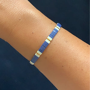 Libby & Smee stretch tile bracelet in Navy Mix