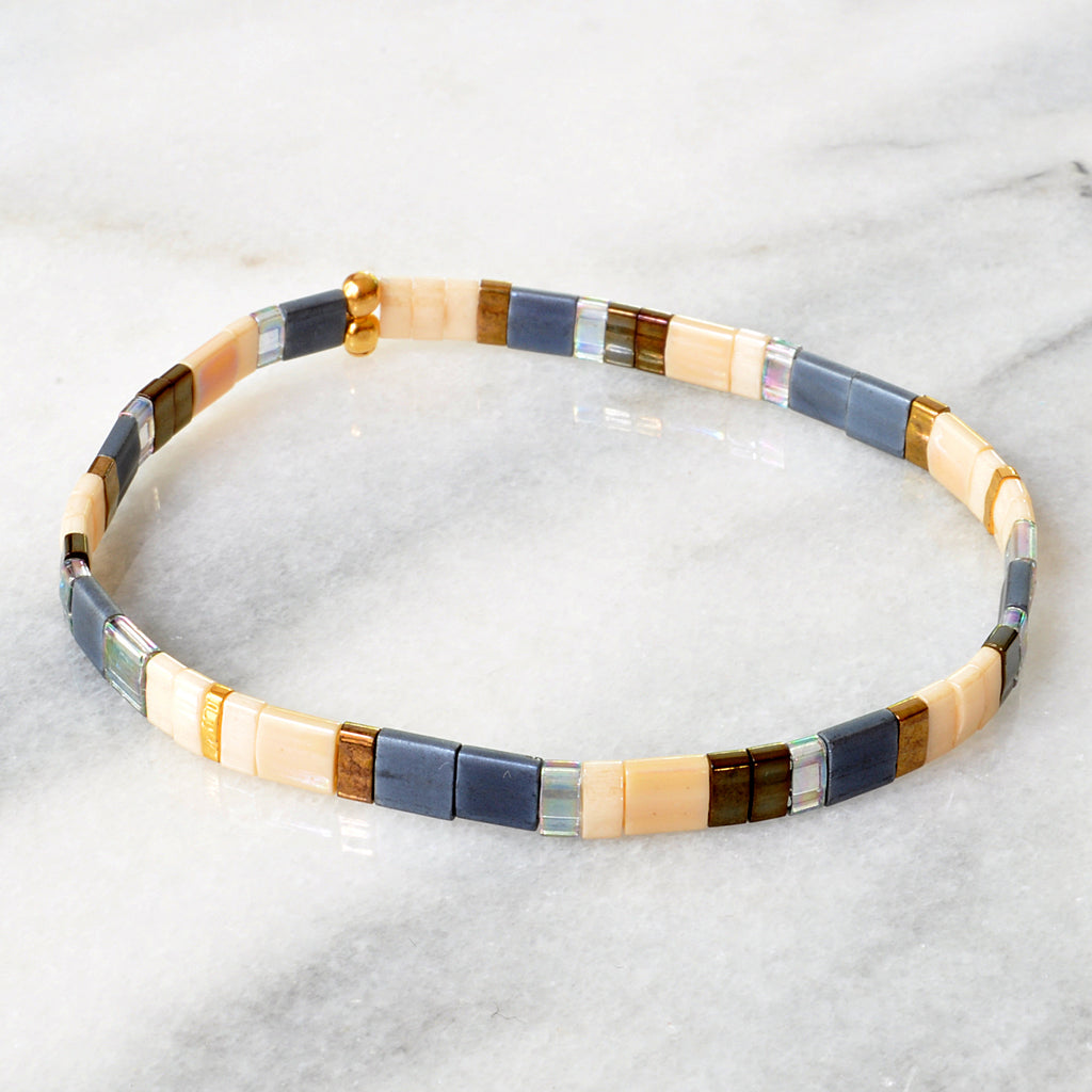 Libby & Smee stretch tile bracelet in Neutral Mix