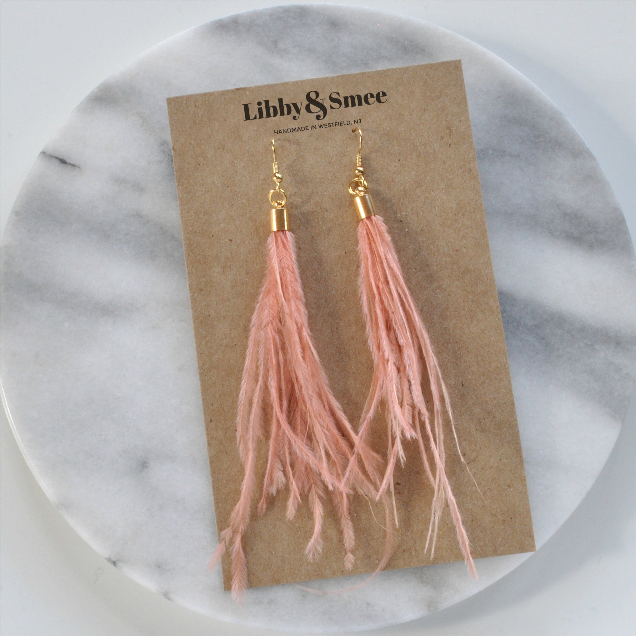 Peach Ostrich Feather Earrings