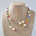 Load image into Gallery viewer, Rainbow Bead Pearl Necklace
