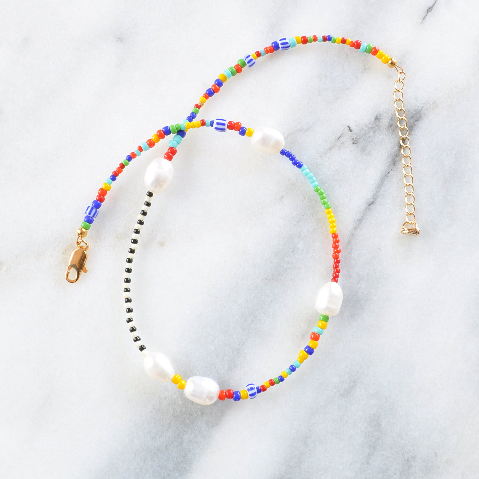 Rainbow Bead Pearl Necklace