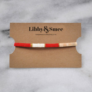Libby & Smee stretch tile bracelet in Red Colorblock