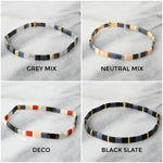 Load image into Gallery viewer, Libby & Smee fall tile bracelets in shades of black, navy, grey and red