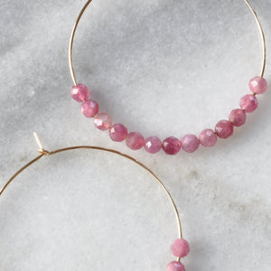 Gemstone 45mm Gold Filled Hoop Earrings