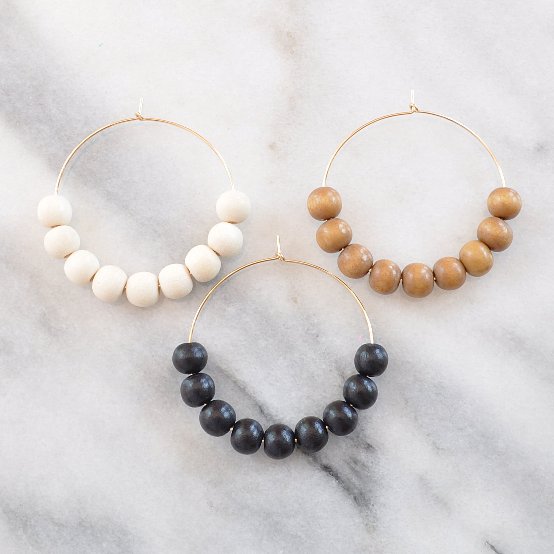Wood Bead Hoops