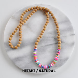 Wood and Heishi Bead Necklace